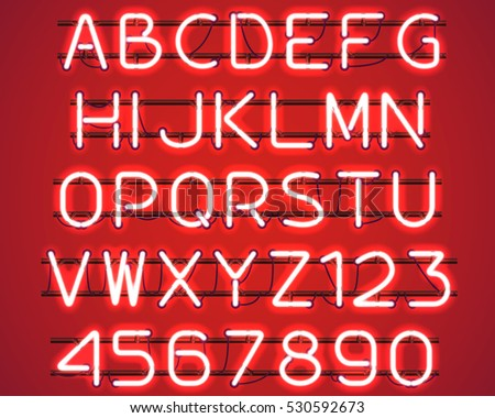 Glowing Red Neon Alphabet with letters from A to Z and digits from 0 to 9 with wires, tubes, brackets and holders. Shining and glowing neon effect. Vector illustration. #530592673