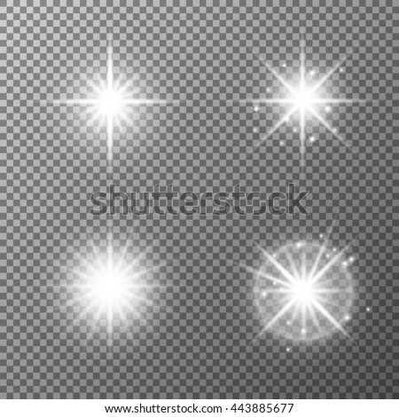 Glowing set of vector spot light effect, soffit, projector rays. Decorative sparkling stars illumination. Shining sources. Highlight design details on transparent background.