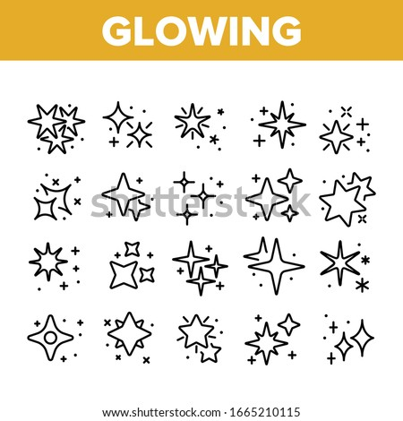 Glowing Shine Stars Collection Icons Set Vector. Glowing Sparkles, Christmas Fireworks Burst Explosion, Glitter Festive Fire Concept Linear Pictograms. Monochrome Contour Illustrations