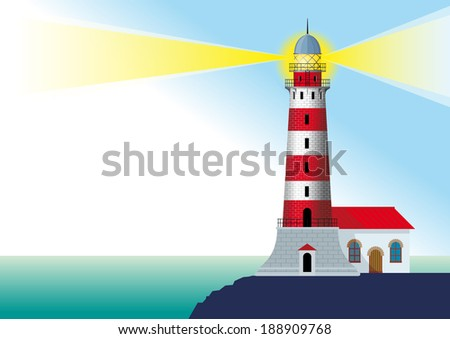 glowing striped lighthouse