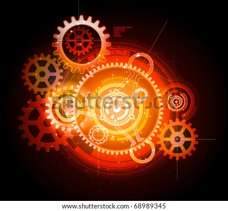 glowing techno gears