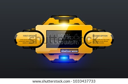Glowing template with two options in yellow industrial techno style on dark gray background