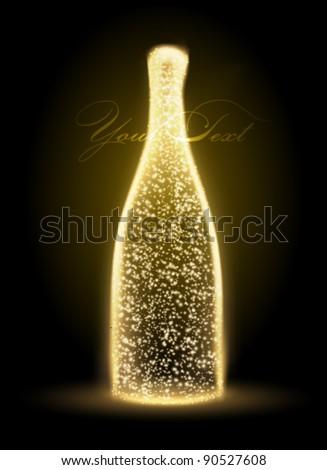 glowing vector bottle illustration