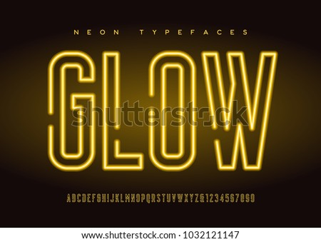 Glowing vector linear neon typefaces, alphabet, letters, font, typography. Global swatches.