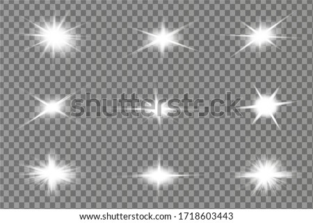 Glowing White Light effect. Vector illustration
