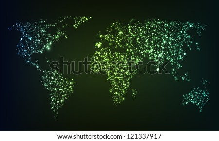 Glowing world map formed by mess of illuminating sparkles. EPS10 vector.