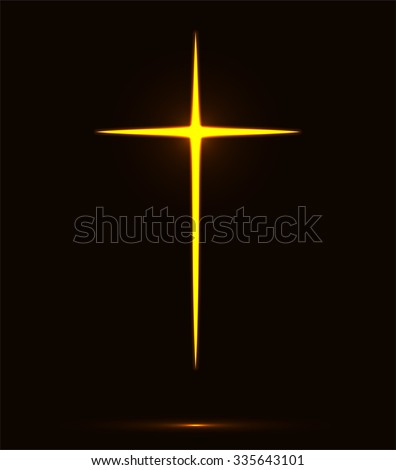 Glowing yellow Christian cross vector illustration isolated over black background. Fire cross, holy cross drawing