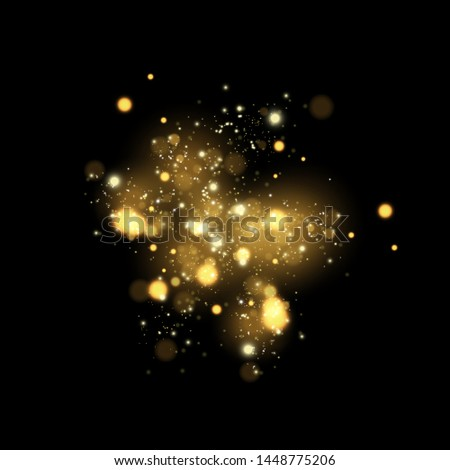 Glowing yellow circles. White sparks and golden stars glitter special light effect. Vector sparkles on transparent background. Christmas abstract pattern. Sparkling magic dust particles