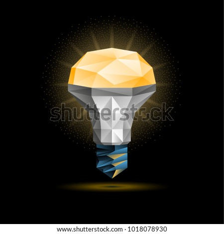 Glowing yellow 3d low poly led light bulb model. Vector polygonal bulb illustration on a black background.