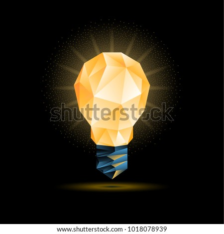 Glowing yellow 3d low poly light bulb model. Vector polygonal bulb illustration on a black background.