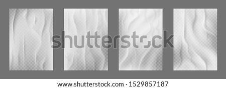 Glued paper. Creased posters with wrinkle texture, white blank banners with wheatpaste glued to wall. Vector illustration realistic empty poster on street bulletin board set on transparent background