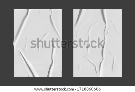 Glued paper set with wet transparent wrinkled effect on gray background. White wet paper poster template with crumpled texture. Realistic vector posters mockup