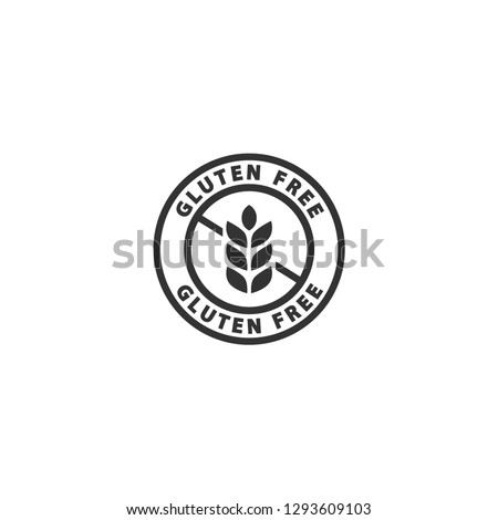 Gluten free black isolated label. No gluten, gluten free circle label vector sticker.