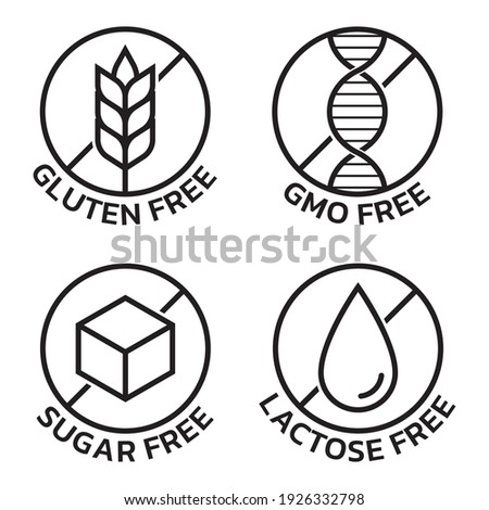Gluten free, GMO free, sugar free, lactose free icon set. Allergy logos. Product packaging labels. Vector illustration.