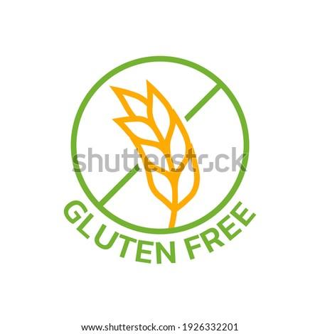 Gluten free icon with grain or wheat symbol. Food allergy label or logo. Vector illustration. Zdjęcia stock ©