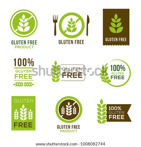 Gluten free icons - can illustrate any food and diet topics - allergies, natural, healthy lifestyle