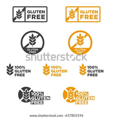 Gluten free icons set. Vector illustration.
