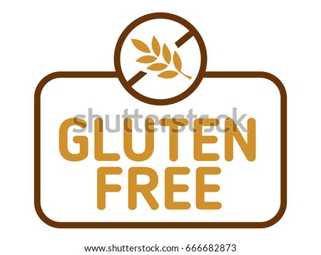 Gluten free label vector. Gluten intolerance badge isolated on white.