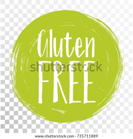 Gluten free label vector, painted round emblem icon for products free of gluten packaging, food pack. No gluten sign, tag circle stamp, logo shape label graphic design.