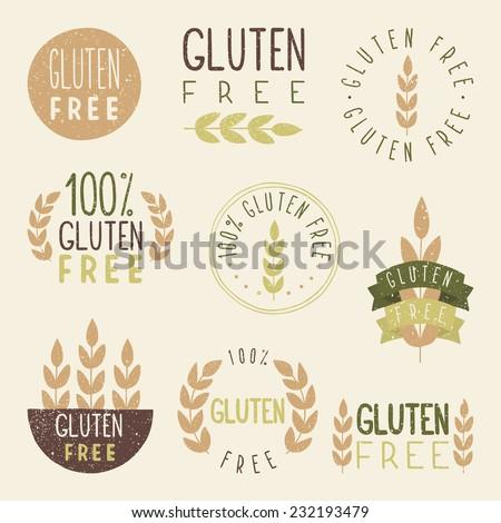 gluten free labels vector eps