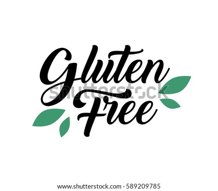 Gluten free Product food organic nature hand written lettering, leaf logo, label badge for groceries, stores, packaging and advertising. Splash Logotype design. Vector illustration. White background