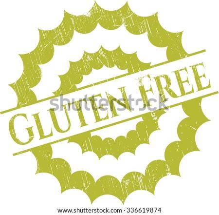 Gluten Free rubber stamp with grunge texture