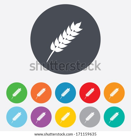 Gluten free sign icon. No gluten symbol. Round colourful 11 buttons. Vector