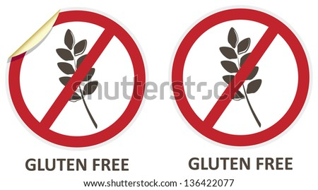 Gluten free vector stickers and icons for allergen free products