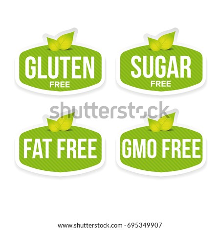 Gluten, sugar, fat, gmo free label vector