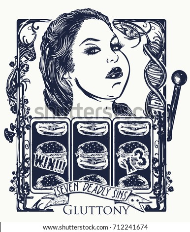 Gluttony. Seven deadly sins tattoo and t-shirt design. Fat woman, unhealthy food, overweight. Obese woman