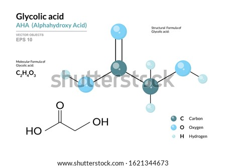Glycolic acid. AHA Alphahydroxy acid. Structural chemical formula and molecule 3d model. Atoms with color coding. Vector illustration