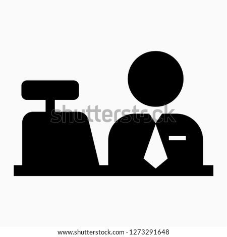Glyph cashier pixel perfect vector icon
