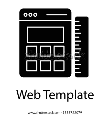 Glyph design of web interface as a web template icon.