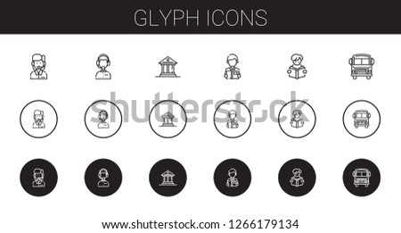 glyph icons set. Collection of glyph with customer service, museum, reading, school bus. Editable and scalable glyph icons.
