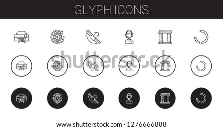 glyph icons set. Collection of glyph with shredder, refund, phone call, customer service, museum, reload. Editable and scalable glyph icons.