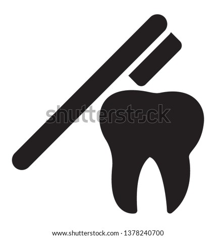 Glyph vector showing brushing teeth icon  #1378240700