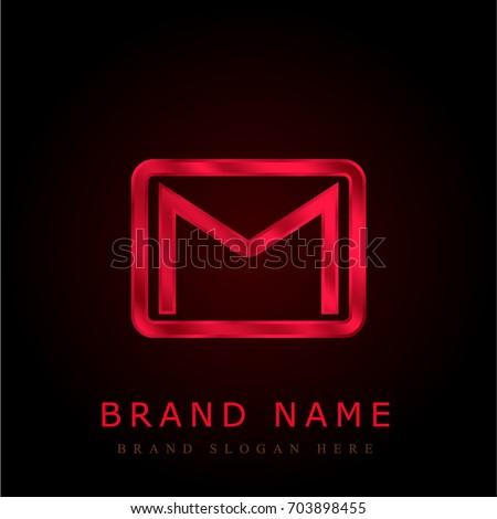 Gmail red chromium metallic logo