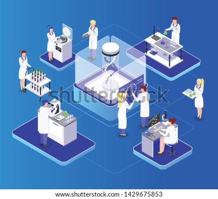 GMO bio engineering isometric composition with biochemical laboratory organisms dna manipulation improving their nutrition value vector illustration