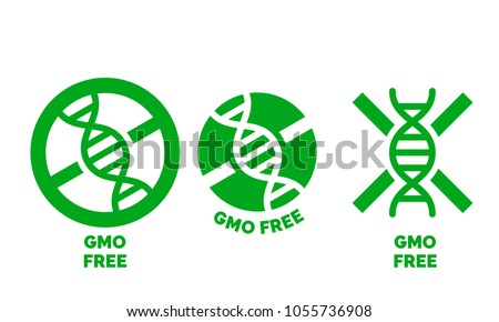 GMO free label for no gmo added product package icon design template. Vector green DNA symbol for GMO free food symbol
