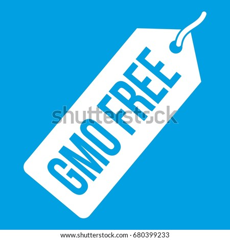 GMO free price tag icon white isolated on blue background vector illustration