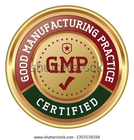 GMP Certified. Good Manufacturing Practice. Vector Golden Badge.