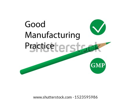GMP, Good Manufacturing Practice. Confirmed enterprise quality management system. Medicines are manufactured in accordance with quality standards. Vector flat illustration isolated on white background