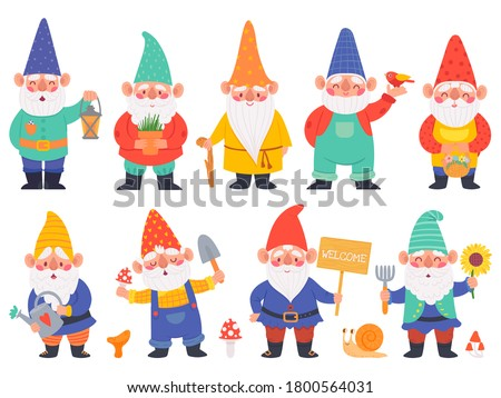 Gnome characters. Cute gnomes with beard funny garden decoration, adorable dwarfs with lantern, watering can and flowers cartoon vector set. Character with shovel with mushrooms, pot with plant Photo stock ©
