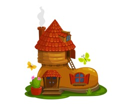 Gnome, dwarf or pixie fairytale house in shape of boot cartoon vector. Magical creature home in shoe with smoking chimney on tiled roof, cactus in flowerpot, wooden porch and flying butterflies