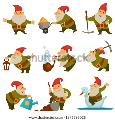 Gnome with mining instrument for getting gold isolated set vector. Character with long beard wearing hat and belt riding swan and holding shovel in hands. Personage water soil from watering can Photo stock ©