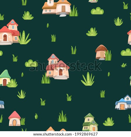 Gnomes houses. Seamless pattern. Fabulous landscape with grass in the meadow. Fark. Flat cartoon style. Cute picture background for children. Vector