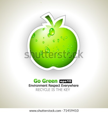 Go Green and Recycle Everything Slogan with green liquid apple for Eco Flyers