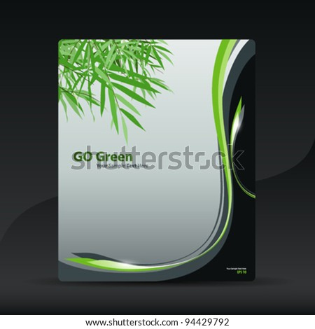 Go Green bamboo brochure design, vector illustration
