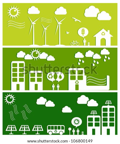 Go green city banners. Industry sustainable development with environmental conservation background illustration. Vector file layered for easy manipulation and custom coloring.