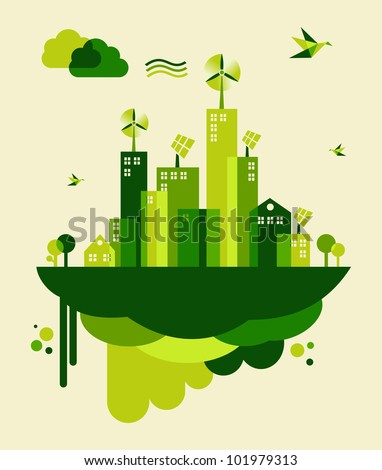 Go green city. Industry sustainable development with environmental conservation background illustration. Vector file layered for easy manipulation and custom coloring.